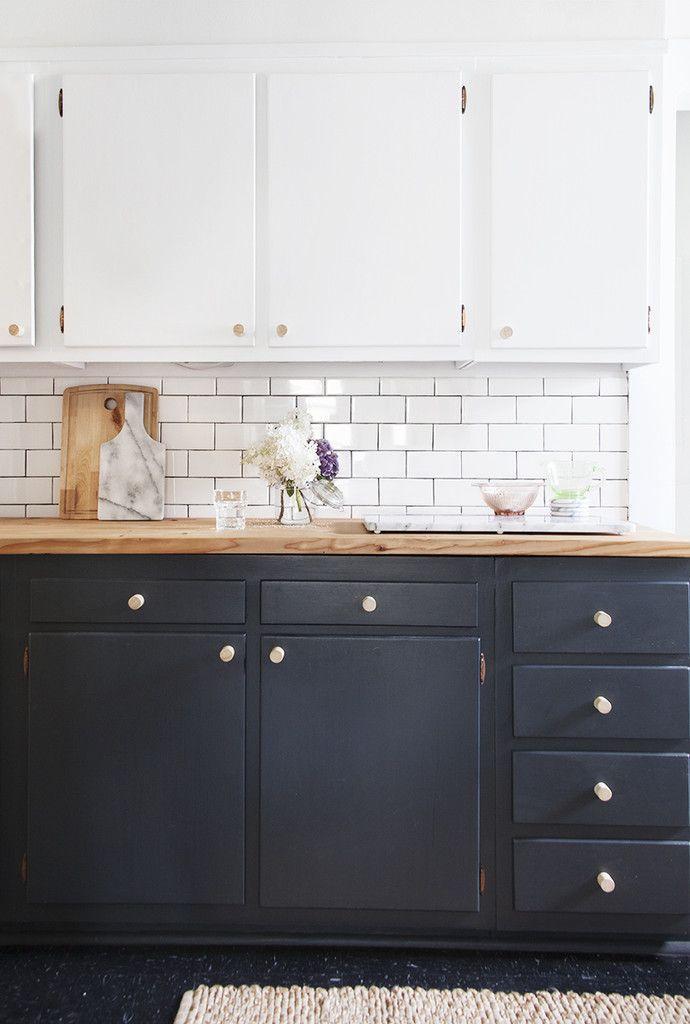 Black Base Cabinets White Upper