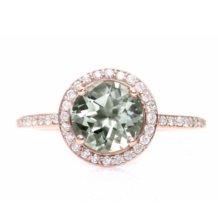 Engagement Rings Rare Earth Rose Gold Green Amethyst Diamond Halo Engagemen