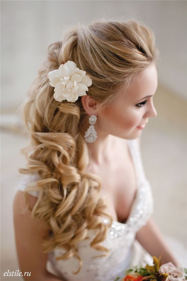 Wedding Hairstyles: half up half down long cur;ly wedding hairstyle ...