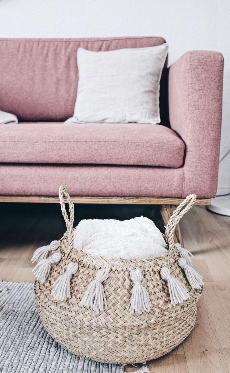 trendy ideas for diy home diy korb mit quasten. Black Bedroom Furniture Sets. Home Design Ideas