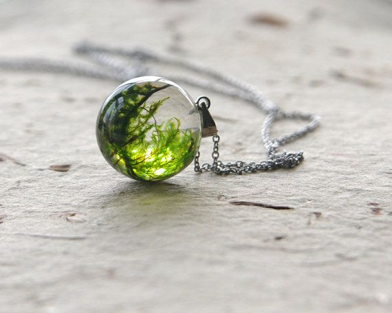 Diy Jewelry Moss Necklace 18mm Resin Terrarium Pendant