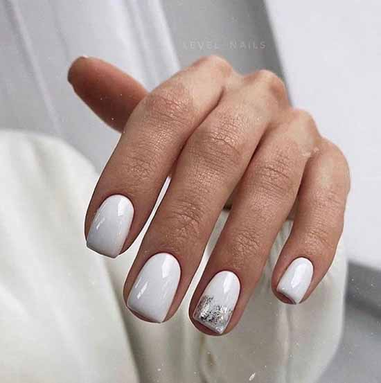 White with foil manicure