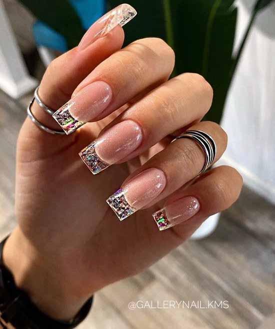 Long transparent glitter nails