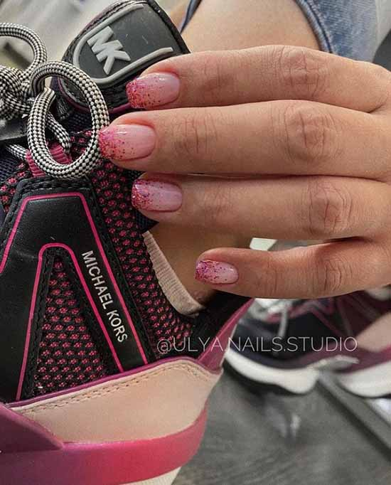 Pink sequins on the tips of the nails