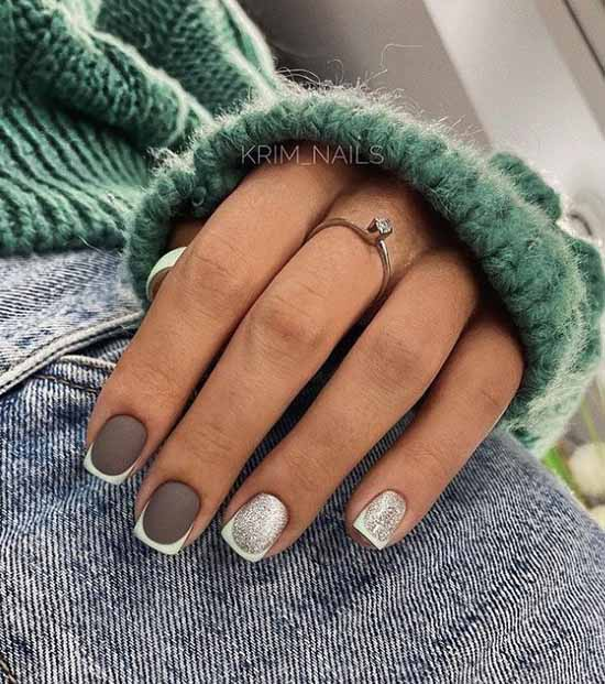 French glitter short nails