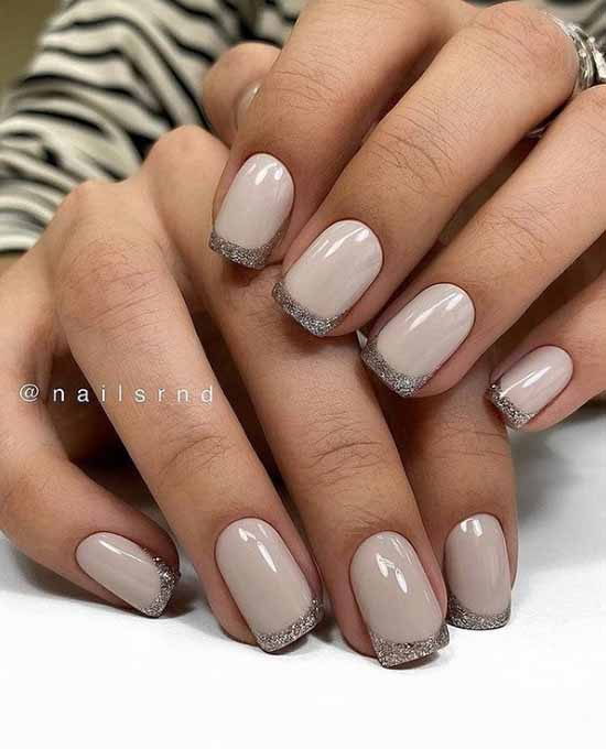 French with sparkles: 100 photos of manicure, the newest ideas