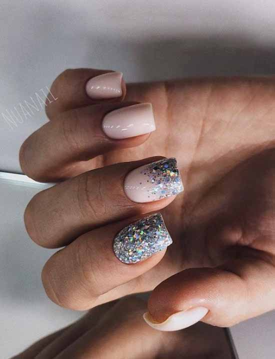 Ombre sequins manicure french