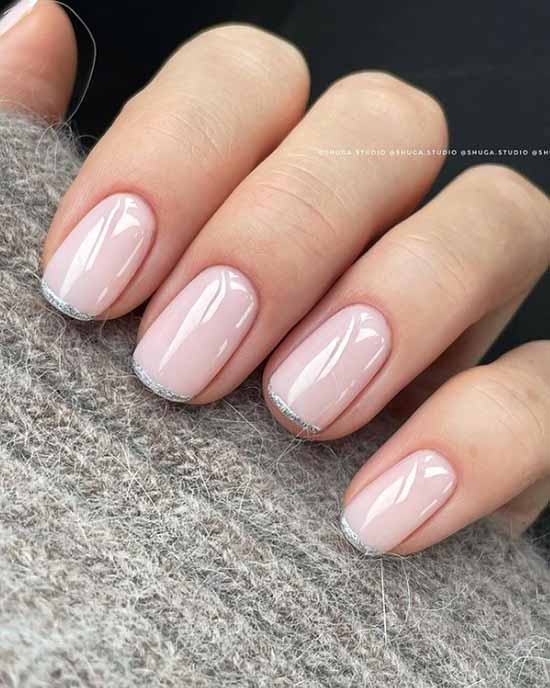 Thin french manicure with sparkles