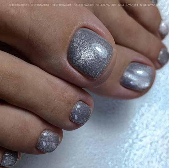 Trendy gray pedicure