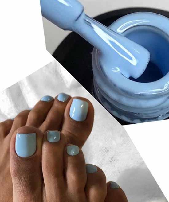 Plain blue pedicure