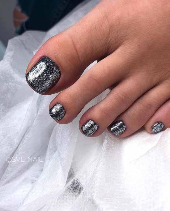Silver glitter pedicure