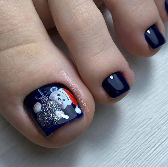New Year's pedicure with a pattern