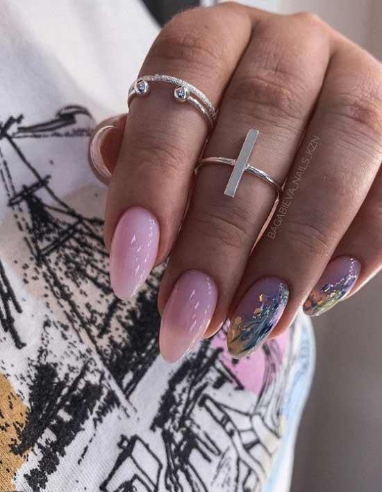 Beautiful winter nude manicure