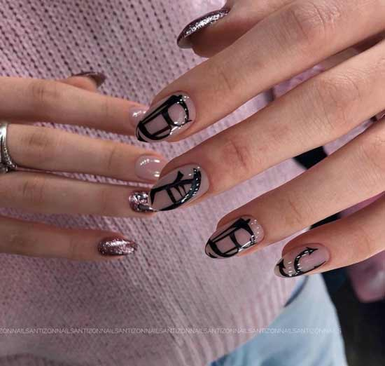 Sequins in nude manicure