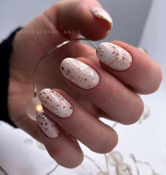 Winter nude snowflakes and stars