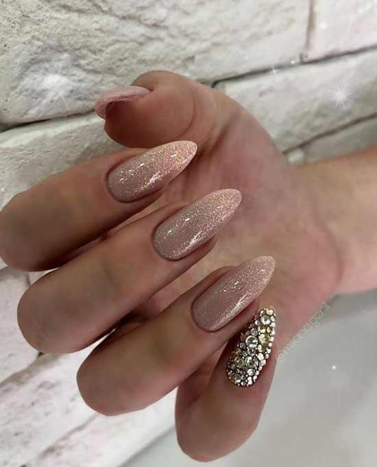 Winter nude manicure with rhinestones