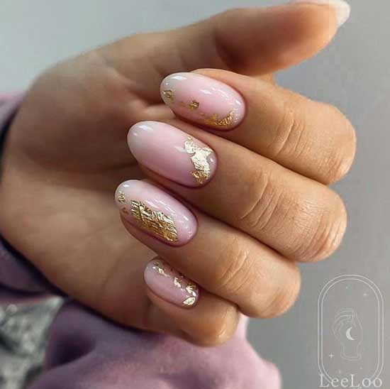 Nude and foil on nails