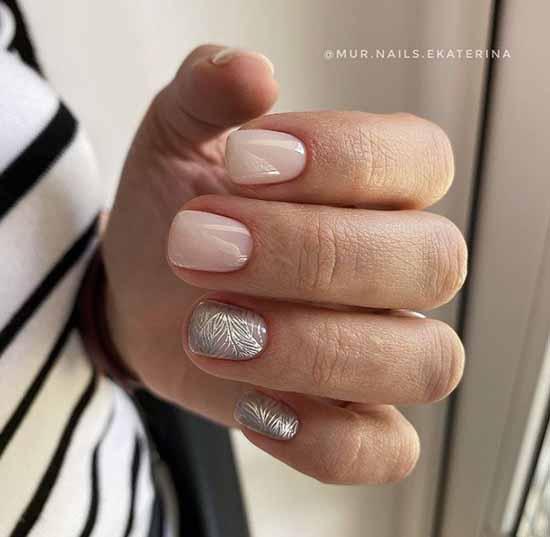 Nude silver manicure