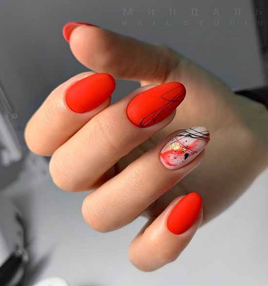 Red manicure and design on one nail