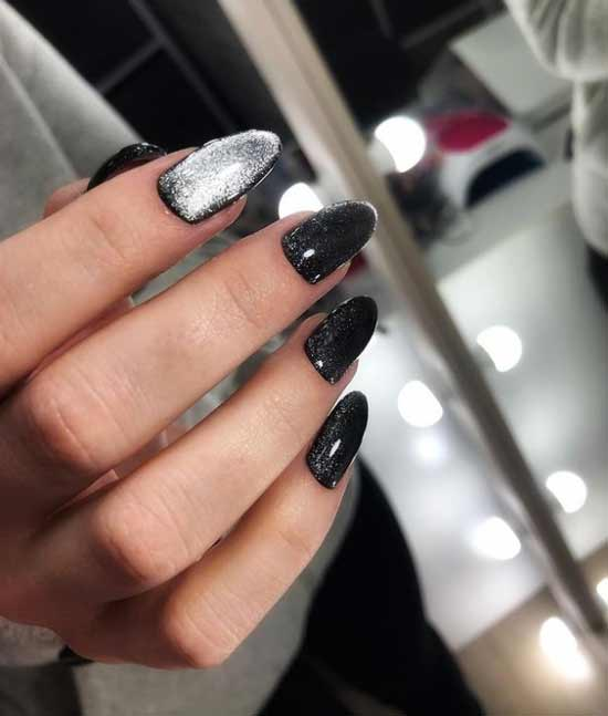Black manicure decor cat's eye