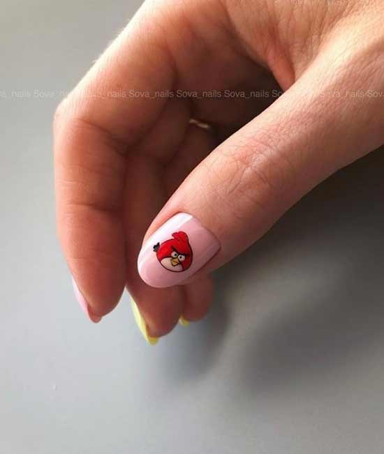 Children's manicure on one nail