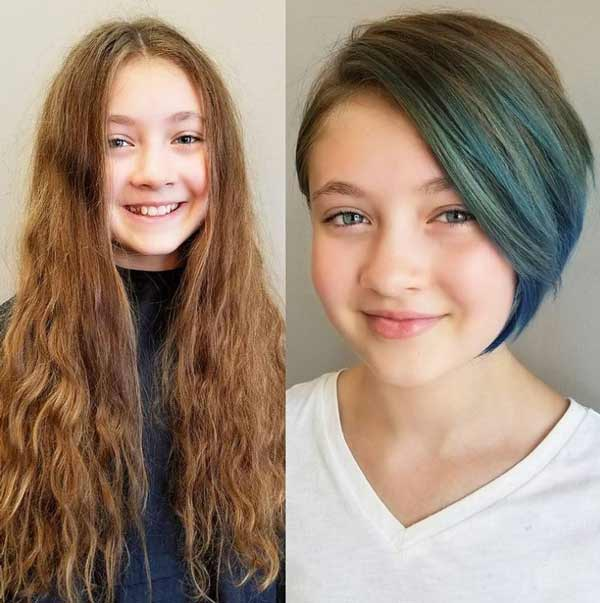 Muscovite haircut on a schoolgirl