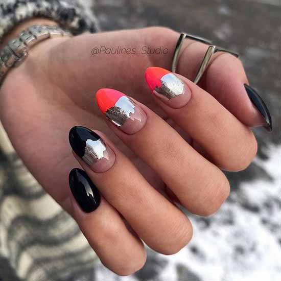 Black Foil Manicure Ideas