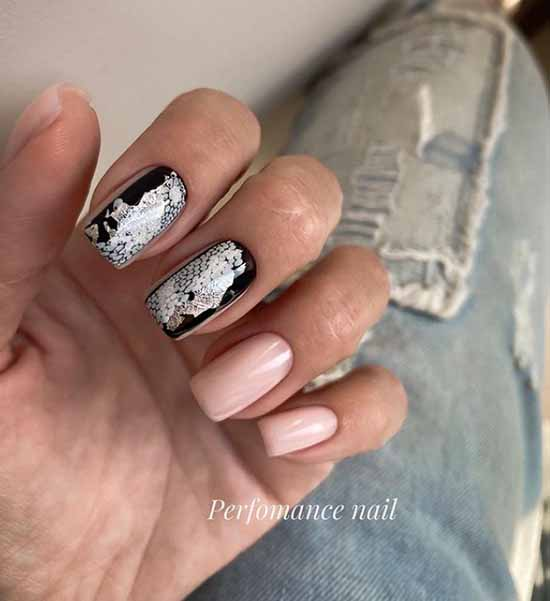 Black nails with silver foil