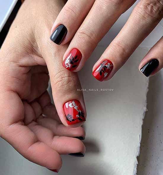 Black short manicure with foil