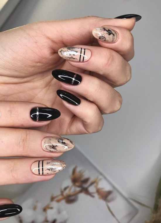 Foil strips on black nails