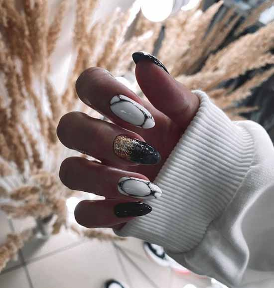 Long black nails with foil