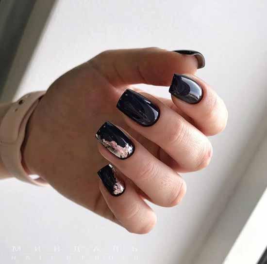 Pink foil on black nails