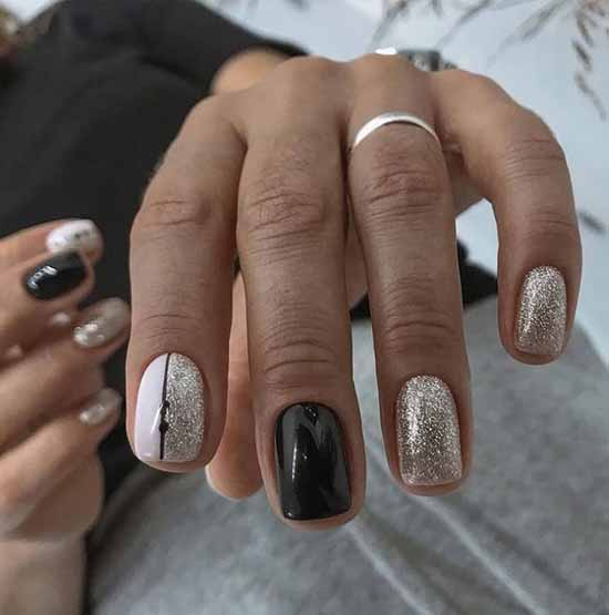 Two-tone manicure with foil