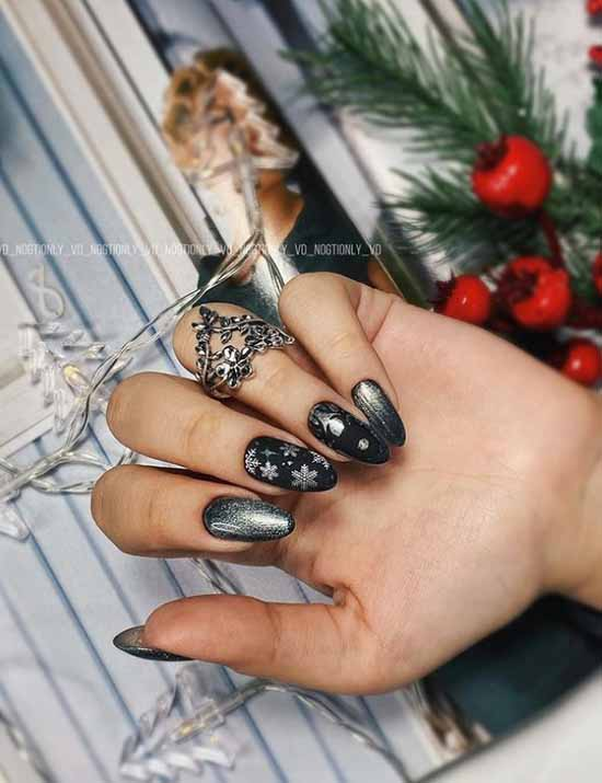 Black manicure with liquid foil