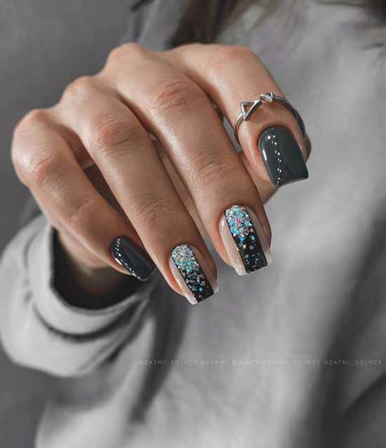 Black manicure with foil: new design, photo ideas
