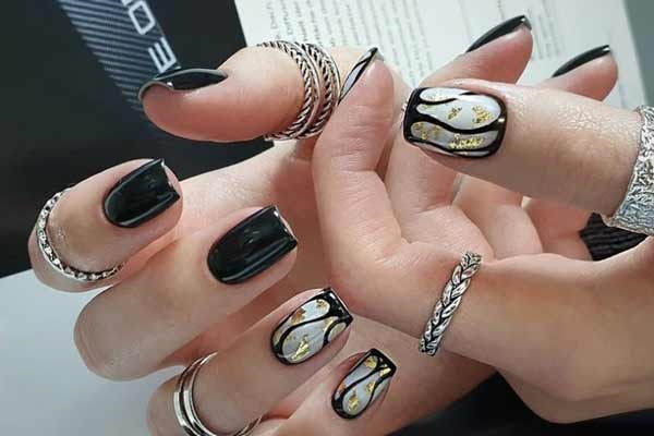 Design ideas black manicure with foil decor