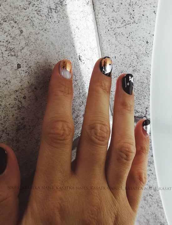 Black manicure with foil: new design, photo ideas