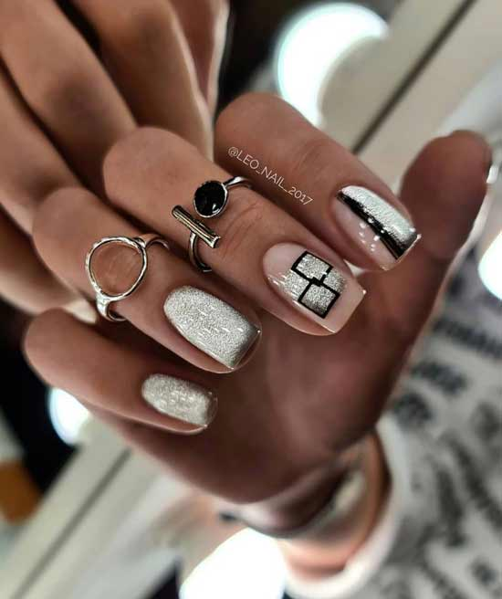 Beige manicure with cat eye design