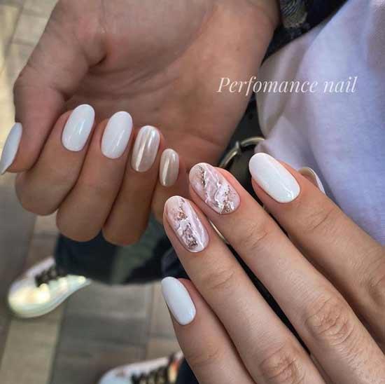 Beige and white glitter manicure