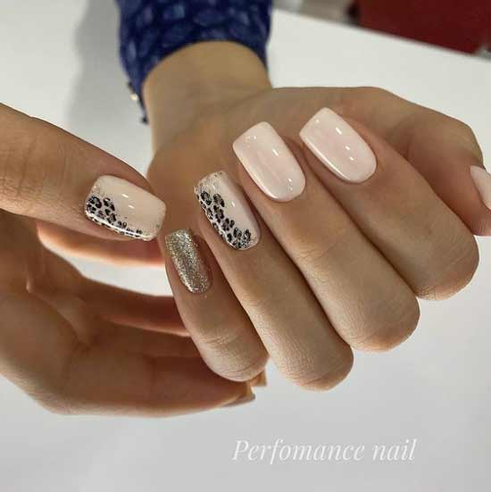 Photo selection of beige manicure with glitter design