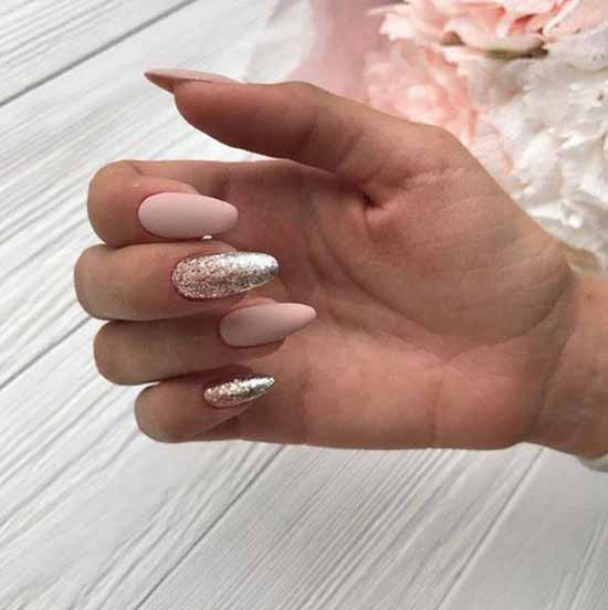 A selection of manicure ideas beige with sparkles
