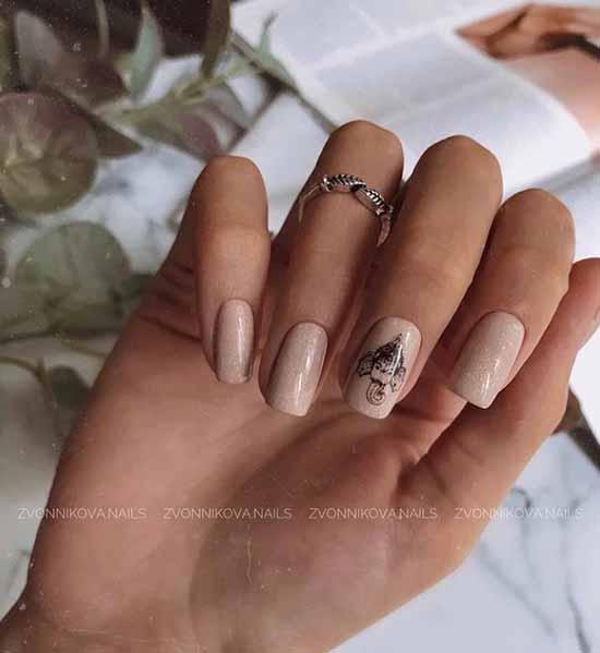 Beige glitter nail polish
