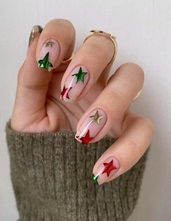 Asterisks on a transparent background nail trend