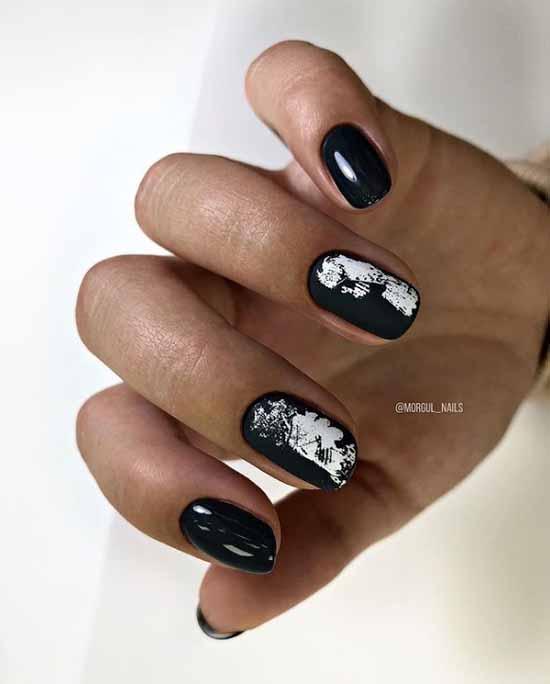 Fashionable black manicure winter