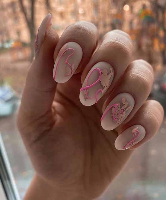 Creamy manicure with winter decor