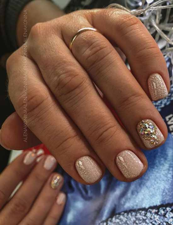 Manicure with rhinestones and sequins fashion winter