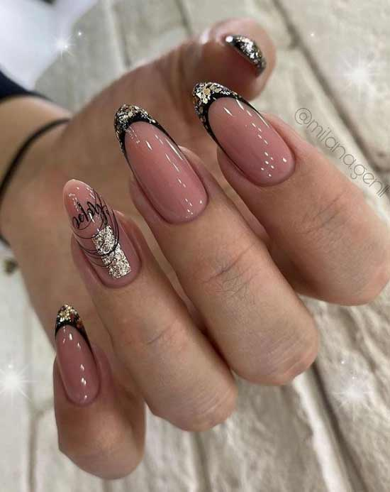 Long sharp nails with winter decor