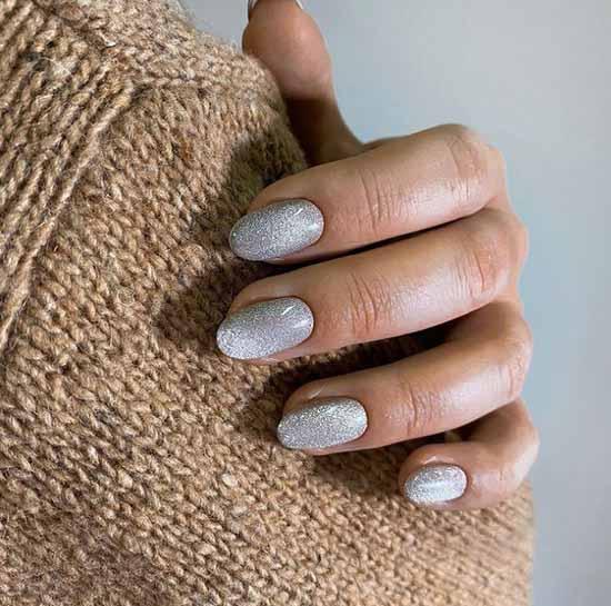 Silver manicure winter
