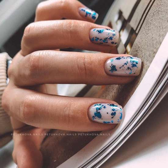 Blue foil milky nails background