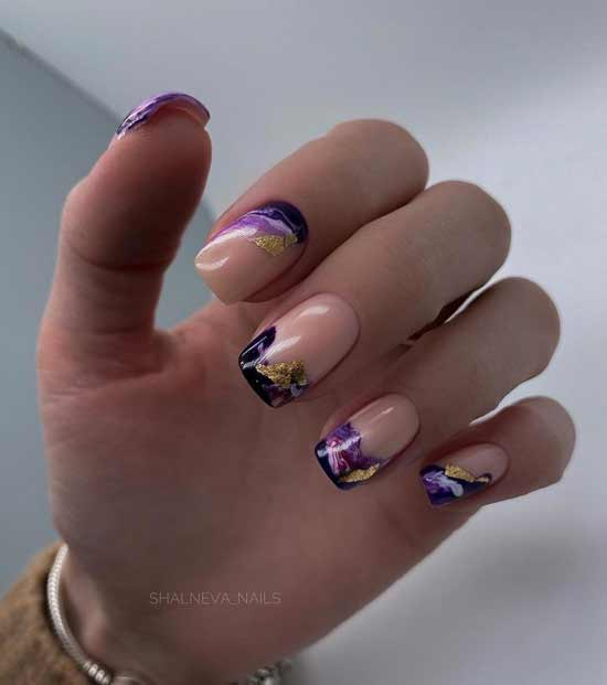 Sheer gold nails
